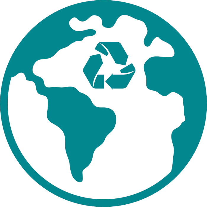 A teal drawing of the Earth with a recycling symbol in the Atlantic Ocean